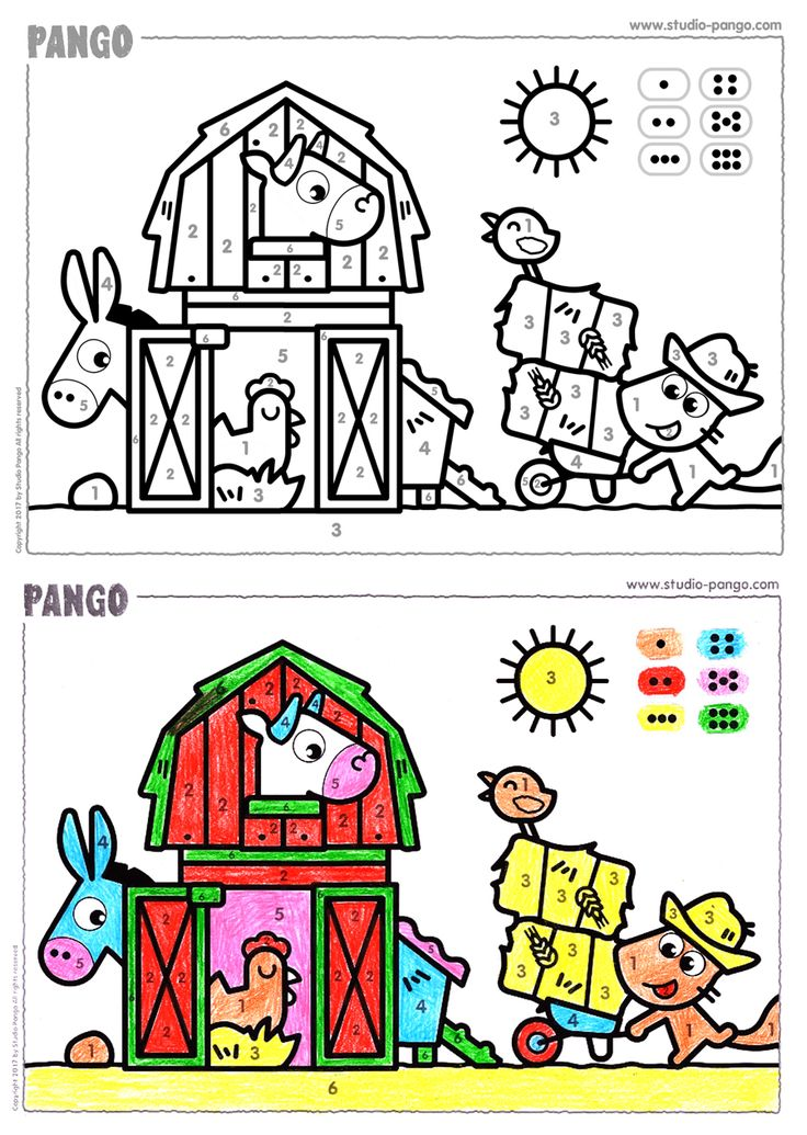 Farm - color by numbers #coloriage #codé #6