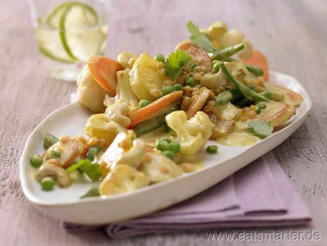 Indisches Gemüse-Curry - smarter - mit Ananas.  Kalorien: 499 kcal   Zeit: 45 min. #vegan #rezepte #recipes
