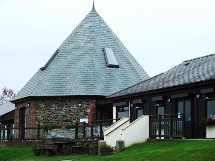 Conical roof over Roadford Lake visitor's centre.