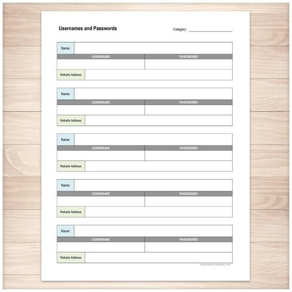 A printable page for keeping track of all of your website usernames and passwords. This list allows you to keep track of the username, password, and website.