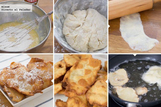 OREJAS DE CARNAVAL 250g de harina, 50g de mantequilla, 25 de anís o aguardiente, 100ml de agua tibia, 60g de azúcar glas, 1 huevo, la ralladura de 1/2 limón y una pizca de sal. Mezclar todo,reposar 1H estirar y freir  http://www.directoalpaladar.com/postres/orejas-de-carnaval-receta-tradicional   http://www.directoalpaladar.com/postres/orejas-de-carnaval-receta-tradicional