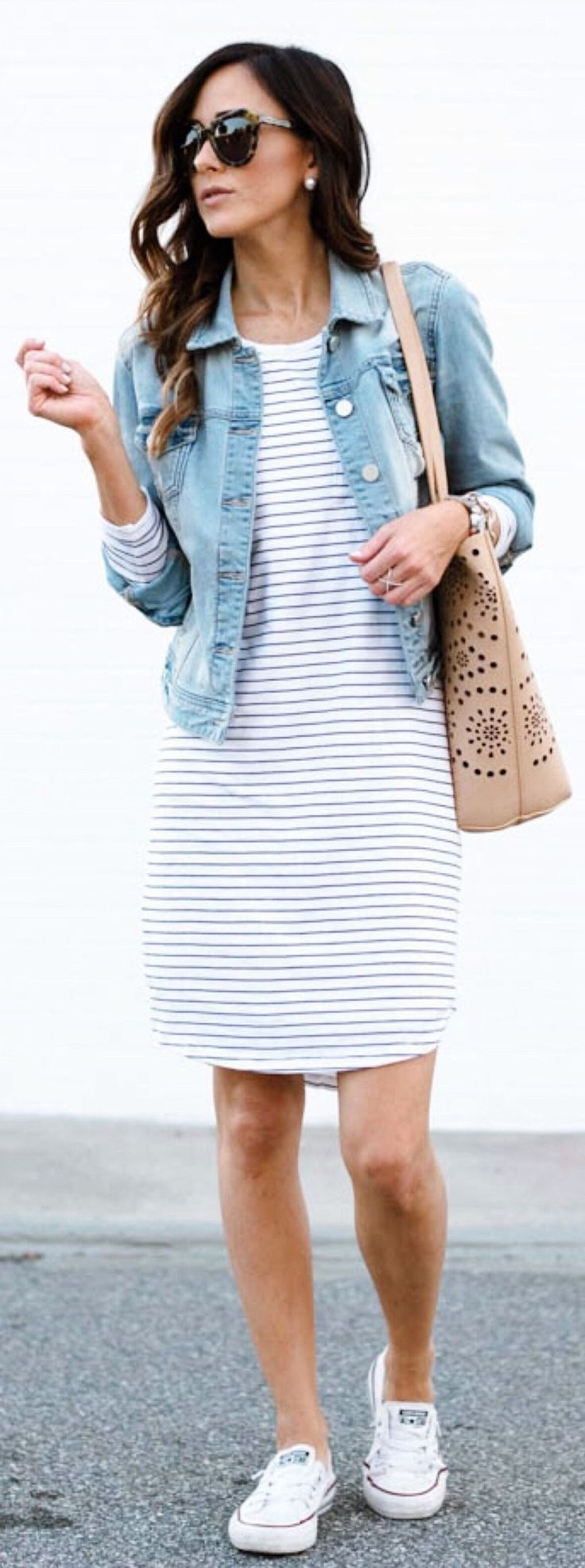 summer outfits Denim Jacket / White Striped Dress / White Sneakers