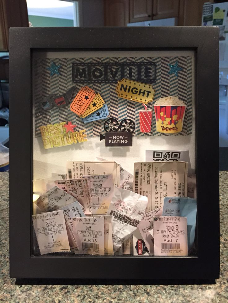 This is the perfect DIY gift for a movie buff! The box frame opens from the front and has a magnetic closure. They (Michael's) also now have box frames with a slot on top to drop in the ticket stubs. All you need is some scrapbook paper and a package of cool 3D movie stickers and you have a great place to save and display your movie ticket stubs! I WILL be making more of these!