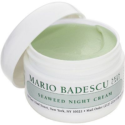 Mario Badescu Seaweed Night Cream. A non-greasy, oil-free night cream enriched with seaweed, collagen and hyaluronic acid to soften, hydrate and nourish the skin without clogging pores. It leaves the skin feeling soft and silky.