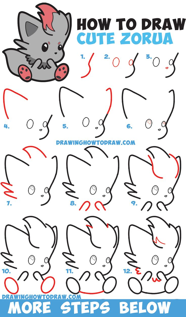 How to Draw Cute Zorua Pokemon with Easy Step by Step ...