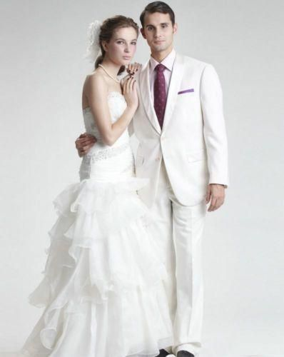 White Wedding Suits For Men Fashion Tuxedos Custome Homme Terno Masculino Designer Fashion Suits (Jacket+Pant+Tie+Handkerchiefs)