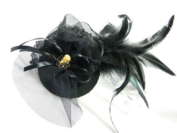 black Fascinator Gothic Steampunk Hat Minihat Bibi by Nashimiron