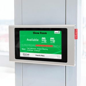 If you want to create the best huddle room or huddle space you might find having a meeting room booking system like the Intevi Room Sync is beneficial, allowing you to book, unbook, and view availability from your desktop or personal device – as well as from the room itself. Read more by clicking the image: