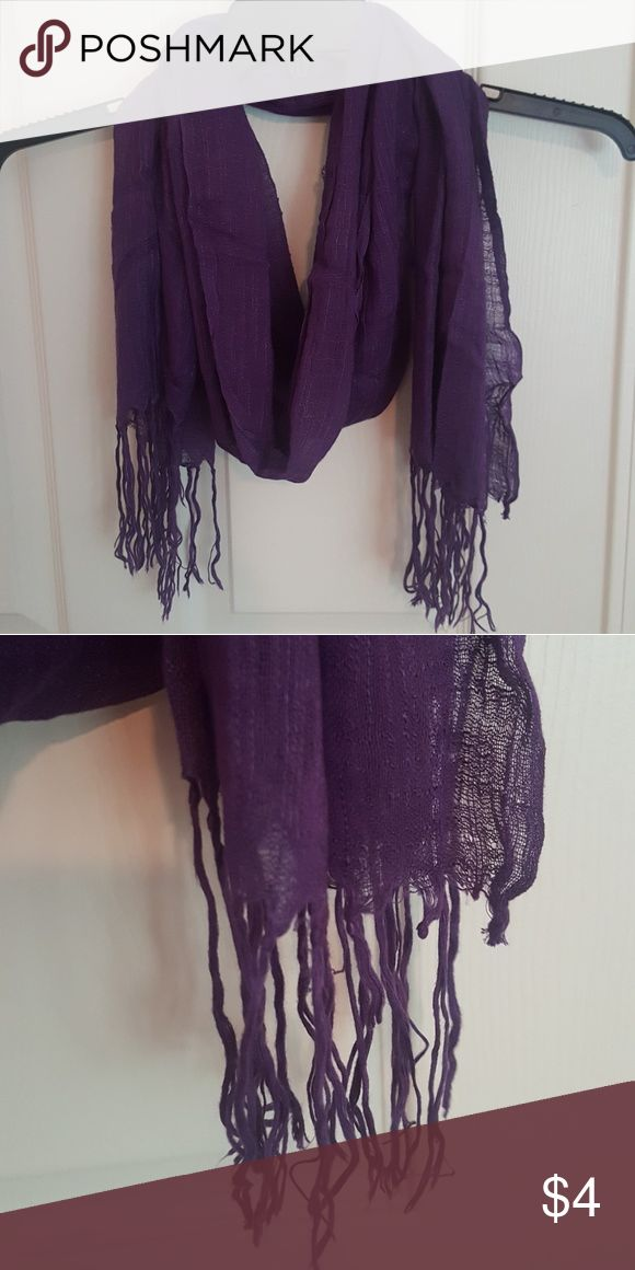 Purple scarf Thin purple scarf with tassles Accessories Scarves & Wraps