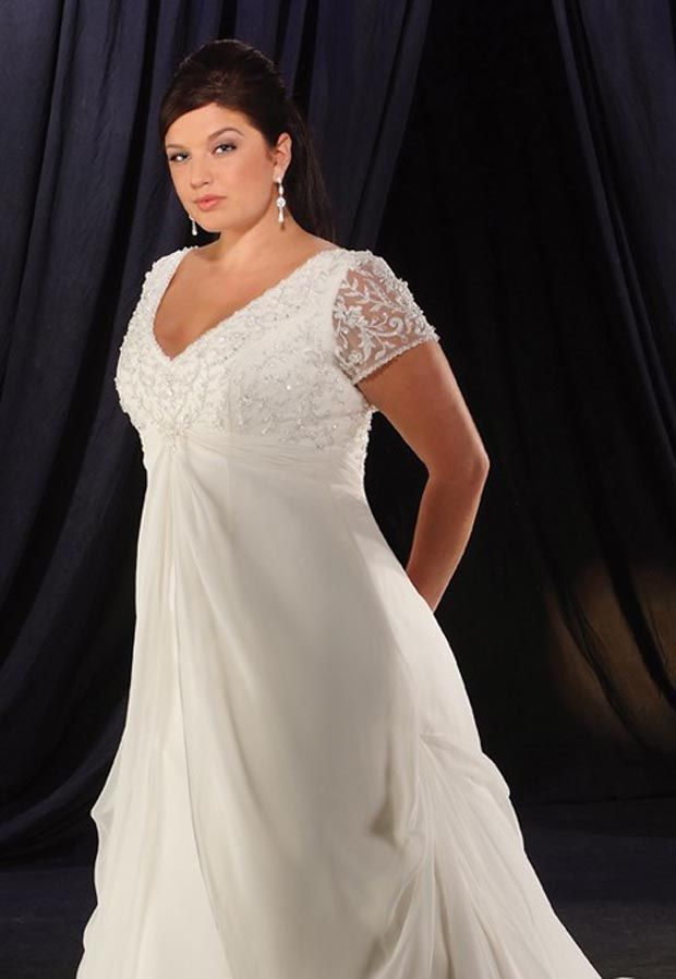 Charming A Line Lace Empire Waist Chubby Short Sleeves V Neck