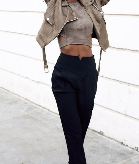 Matching brown leather jacket and crop top with cut outs + black high waisted trousers
