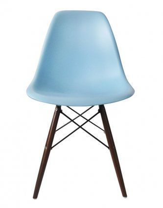 Replica Eames DSW Chair  – Light Blue/Walnut Stain