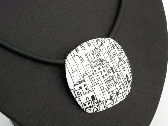 City necklace in black and white, unique polymer clay, houses, handmade fimo necklace , art claypolymerClayDesign