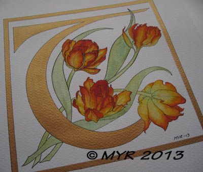 Illuminated letter T, tulips | Ars Rönnei