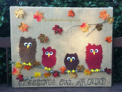 Life on Lakeshore Drive: Fabric Owls & Burlap Fall Decor Blessing Reminder