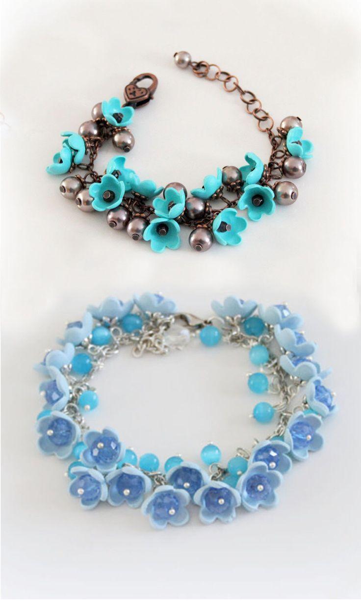 Mint or blue  color tender flowers polymer clay copper  bracelet,  flowers  jewelry, flower  pastel beads, Czech beads, summer bracelet by JuliaCreaStyle on Etsy https://www.etsy.com/uk/listing/226438168/mint-or-blue-color-tender-flowers
