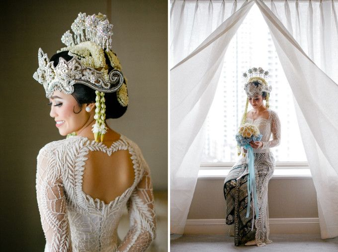 Kebaya for traditional wedding dress | A Modern Sundanese Ballroom Wedding With A Rustic Vibe | http://www.bridestory.com/blog/a-modern-sundanese-ballroom-wedding-with-a-rustic-vibe