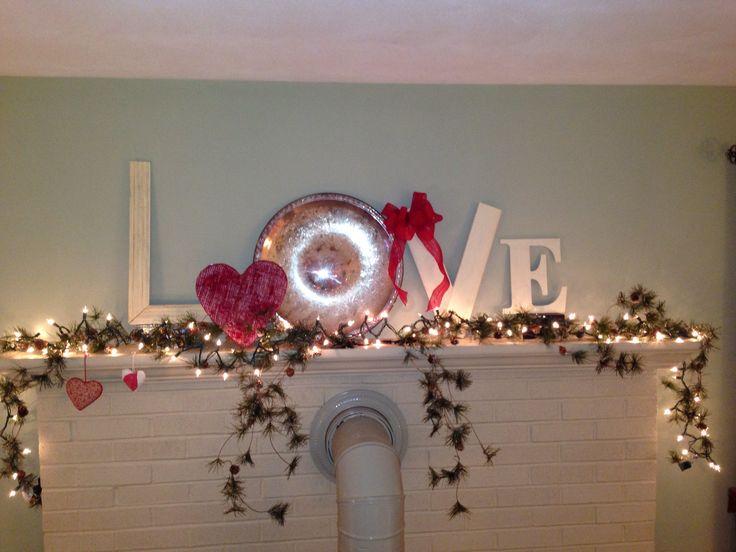 Valentines day mantle decoration | holiday ideas | Pinterest | Mantle