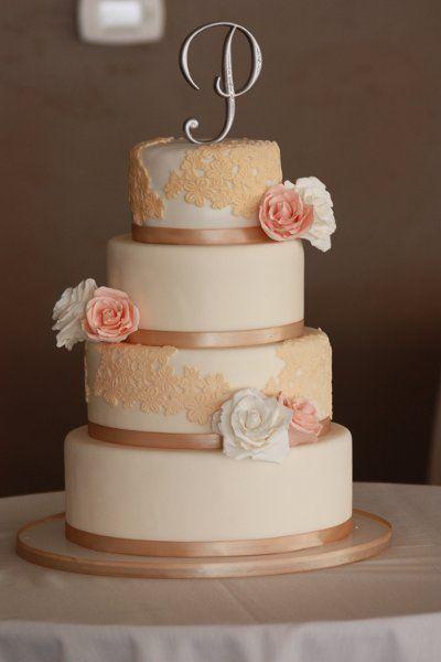 Elegant Vintage Champagne Gold Ivory Pink White Food Round Wedding Cakes Phot