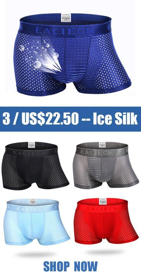 b8bd53ce66b9 【3 / US$22.50】US$ 7.99--Breathable Ice Silk Sexy Mesh Thin U Convex Boxer  Briefs for Men#men #mensfashion #menswear