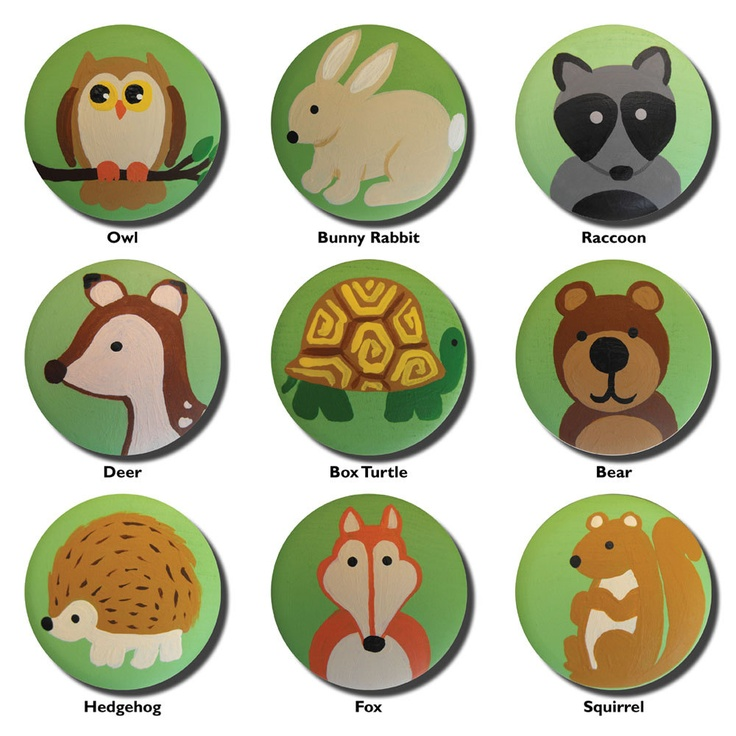 Custom Hand Painted Woodland Forest Animal Drawer Knobs Pulls Or Nail  Covers. $5.00, Via