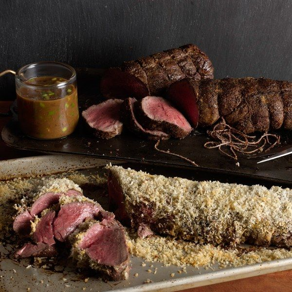 Porcini crusted tenderloin with black truffle butter sauce