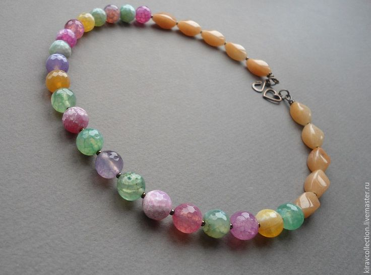 Купить Бусы агат, нефрит Sweets - разноцветный, разноцветные бусы, натуральные камни бусы, бежевый