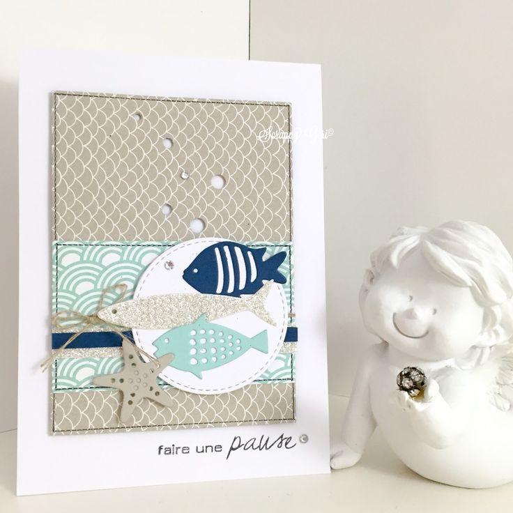 Hello!!!! Me voilà de retour pour vous montrer deux petites cartes faites hier ;) Avec mes petits poissons de chez Simply Graph...