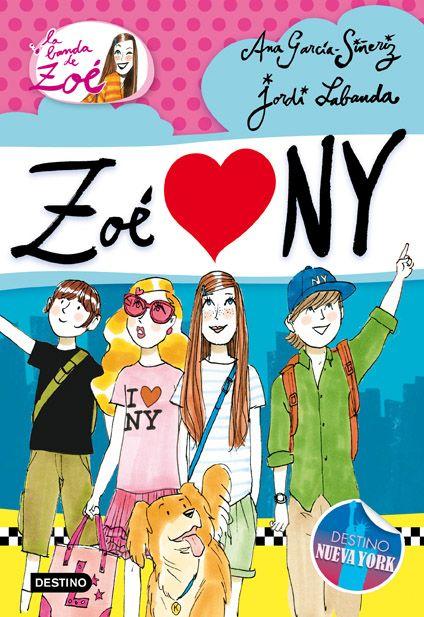 """Cuarto título de la colección escrita por la periodista Ana García-Siñeriz, para niños a partir de 9 años. En """"¡Zoé ama NY!"""" (N 850 GAR zoé / a) la banda se dirige a la Gran Manzana para acompañar a Matilde a una súper fiesta, pero una vez allí Zoé y sus amigos se encontrarán con que un misterioso personaje, Mister X, quiere construir sus apartamentos dentro de Central Park… y la banda no puede permitirlo."""