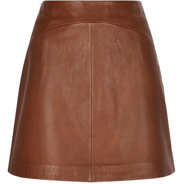 Reiss Cammie Leather A-Line Skirt ($290) ❤ liked on Polyvore featuring skirts, a line skirt, reiss, reiss skirt, brown a line skirt and real leather skirt