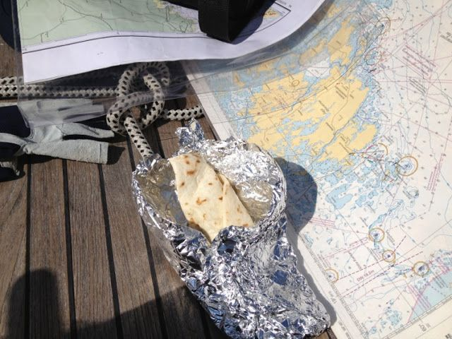 Tortilla wraps which Minna prepared earlier were lunch during the crossing of Åland Sea