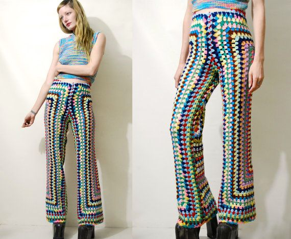 """// RESERVED for Tabitha //  ☩ RAINBOW CROCHET FLARES Handmade by Crux and Crow Constructed from a 70s vintage wool blanket Colourful rainbow crochet Slim fit upper with flared legs High waist with stretchy elastic waistband  Label: Crux & Crow Size on tag: - Best fit: XS-S Fabric: Wool Crochet Condition: Excellent, handmade  ☩ M E A S U R E M E N T S Length: 105cm (41"""") Inner leg length: 82cm (32) Waist: 33-44cm (13-17"""") Hips: 44cm (17"""")  Measurements taken with garmen..."""