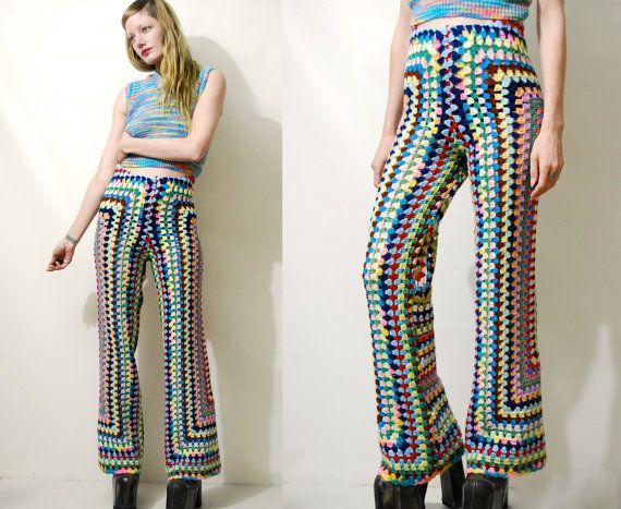 CROCHET Pants Rainbow Granny Square Flares Crochet Bell Bottoms Crochet Flares Knit Wool Pants Highwaisted Bohemian Hippie 70s Vintage XS S