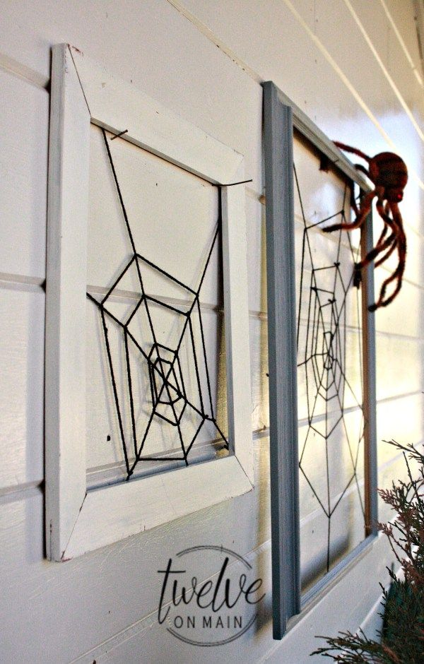 check out how i made this diy framed spiderweb with an old frame yarn and a staple gun it can be a great addition to your halloween decor - Halloween Spider Web Decorations