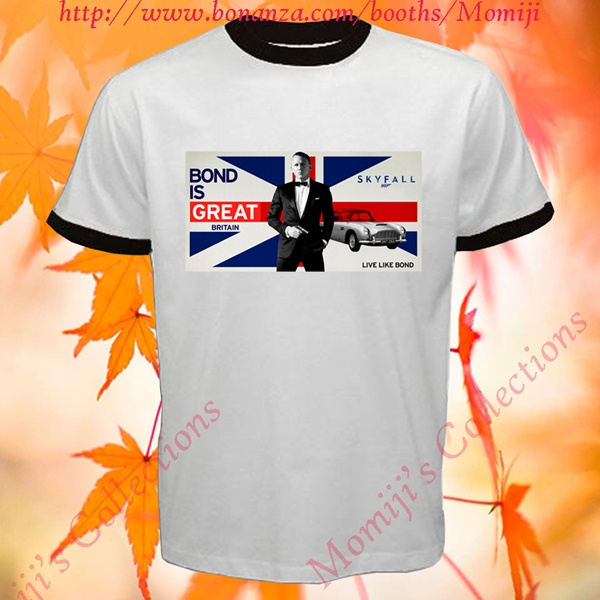 James Bond Skyfall is Great Britain Agent 007 Film Logo Ringer T-Shirt