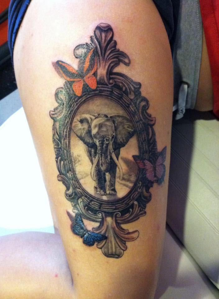 Elephant tattoo on my thigh personal meaning to the women for Elephant tattoo meaning family