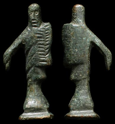 Ancient Celtic bronze statue, 1st-2nd century AD. Under Roman occupation, a stylized statue of the god Mercury. LIkely from a Celtic house-shrine