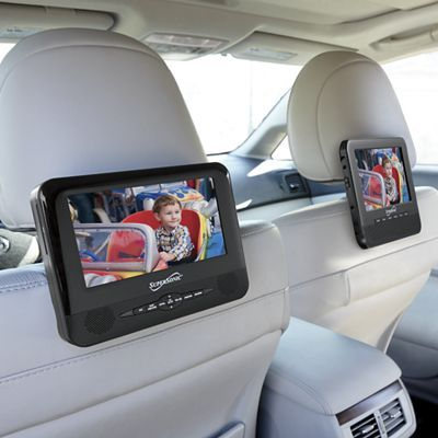 keep your kids entertained during those long trips with this 7 dual screen portable dvd