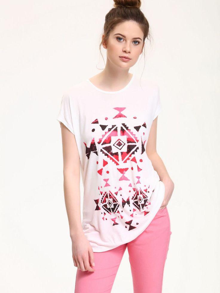 Comanda online, Tricou casual cu croi larg Top Secret alb cu print. Articole masurate, calitate garantata!