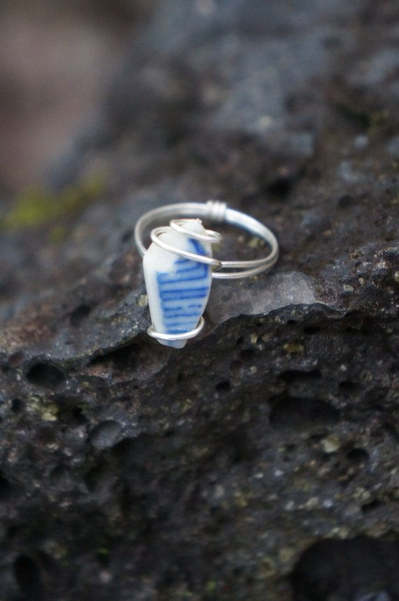 Hawaii Sea Ceramic Wire Wrapped Ring by AquaWai on Etsy