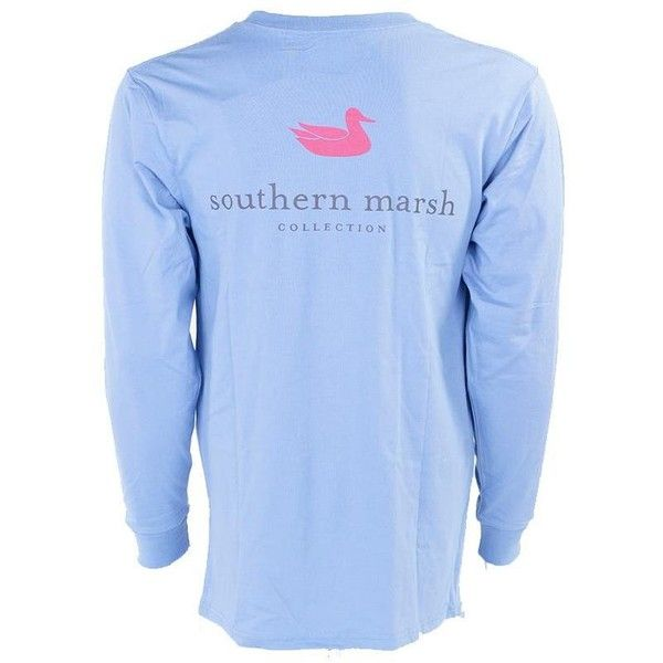 Southern Marsh Authentic Long Sleeve T-Shirt ($40) ❤ liked on Polyvore featuring tops, t-shirts, shirts, long-sleeve shirt, blue long sleeve shirt, blue long sleeve tee, longsleeve t shirts and long sleeve tops