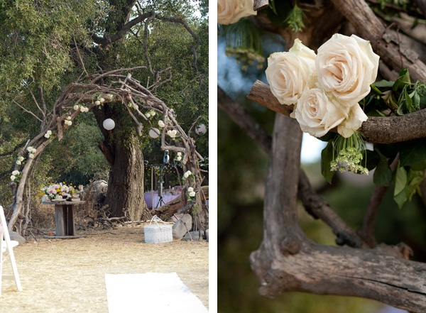 Branch arch altar for weddings. White roses. Photography by http://www.SmetonaPhoto.com