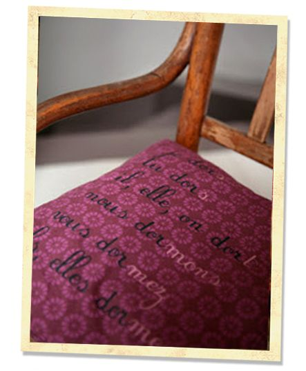 """Inspired by the 60s, 70s - Vintage cushion back - conjugate the French verb """"dormir""""/""""to sleep"""""""