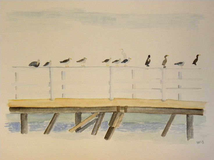 Birds of LA hanging on a pier. Original watercolor painting by Virpi Kivinen. #LA #california #birds #pier #santamonica #venicebeach #malibu #finnishart #earlymorningwalk #virpikivinen