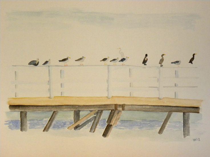 Birds of LA hanging on a pier. Original watercolor painting by Virpi Kivinen. #LA #california #birds #pier #santamonica #venicebeach #malibu #finnishart #earlymorningwalk #virpikivinen
