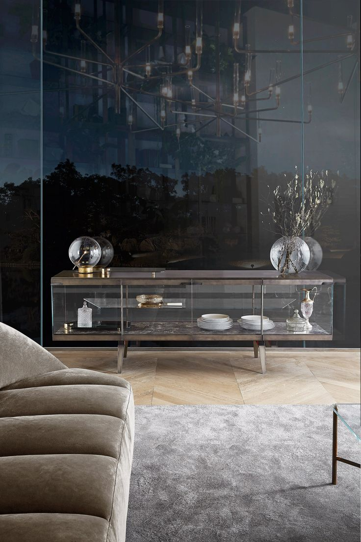 Download the catalogue and request prices of Pandora light By gallotti&radice, tempered glass sideboard with doors design Pinuccio Borgonovo, pandora Collection