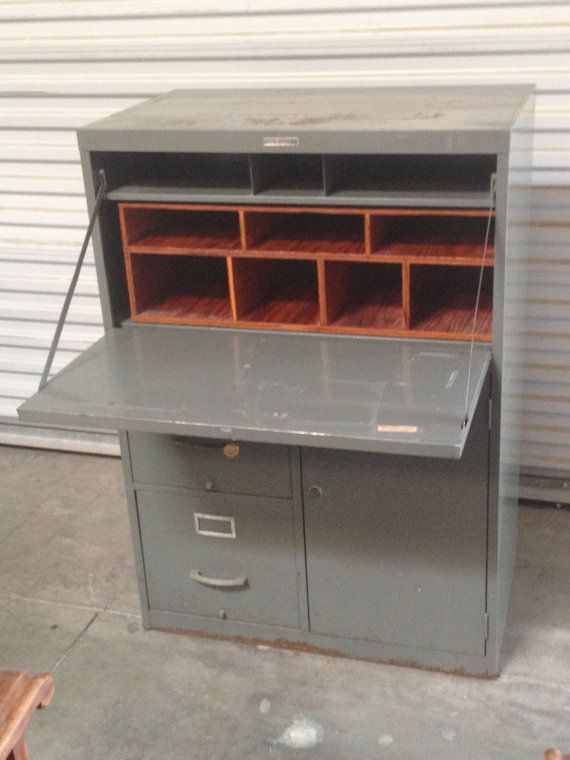 Retro Tower Metal Industrial Secretary Desk W Filing Cabinet And Storage By Sears Roebuck Co