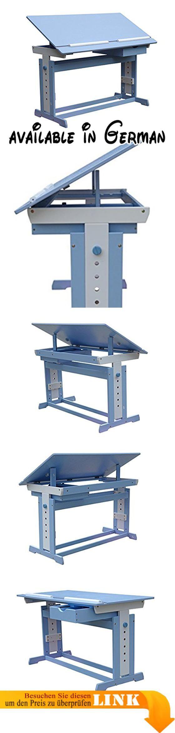 Schreibtisch Kinder Jugend Schreib Tisch höhenverstellbar und neigbar Blau/Weiß. Kippbare Tischplatte (erleichtert Ihrem Kind so das Arbeiten). Zwei Leisten an der Unterseite der Tischplatte verhindern, dass das Arbeitsmaterial bei gekippter Tischplatte herunterfällt. Höhenverstellbare Tischbeine, Höhe verstellbar von ca. 62 bis 88 cm. Tischfläche: ca. 109 x 55 cm. Material: MDF - Holz (lackiert) #Furniture #HOME_FURNITURE_AND_DECOR