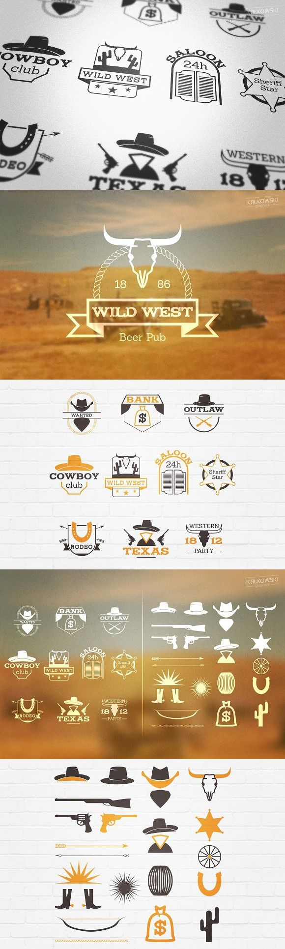 Wild West Country Badges Logos. Western Fonts
