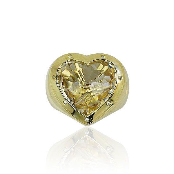 Herz-Gold-Ring mit Bergkristall Herz und 0,07ct Diamanten, Jette Joop